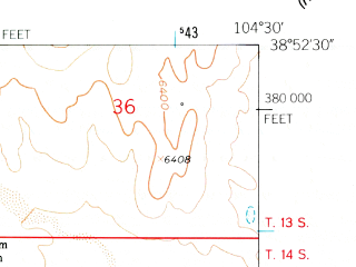 Reduced fragment of topographic map en--usgs--024k--010184--(1961)--N038-52-30_W104-37-30--N038-45-00_W104-30-00