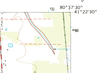 Reduced fragment of topographic map en--usgs--024k--010217--(1961)--N041-22-30_W080-45-00--N041-15-00_W080-37-30; towns and cities Cortland, Howland Center, Vienna Center