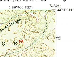 Reduced fragment of topographic map en--usgs--024k--010244--(1950)--N044-37-30_W084-52-30--N044-30-00_W084-45-00
