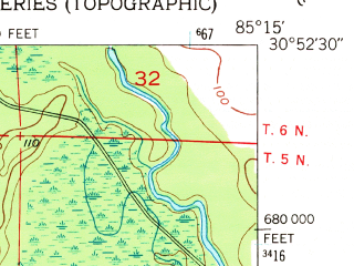 Reduced fragment of topographic map en--usgs--024k--010272--(1952)--N030-52-30_W085-22-30--N030-45-00_W085-15-00