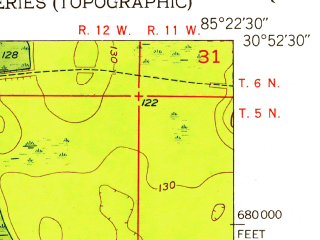 Reduced fragment of topographic map en--usgs--024k--010273--(1952)--N030-52-30_W085-30-00--N030-45-00_W085-22-30; towns and cities Cottondale