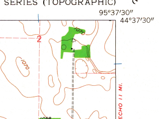 Reduced fragment of topographic map en--usgs--024k--010283--(1962)--N044-37-30_W095-45-00--N044-30-00_W095-37-30; towns and cities Cottonwood