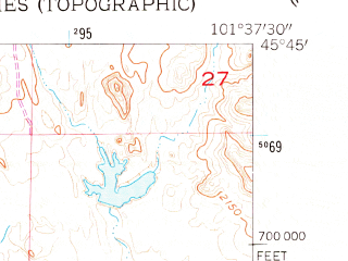Reduced fragment of topographic map en--usgs--024k--010296--(1956)--N045-45-00_W101-45-00--N045-37-30_W101-37-30