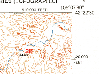 Reduced fragment of topographic map en--usgs--024k--010301--(1951)--N042-22-30_W105-15-00--N042-15-00_W105-07-30