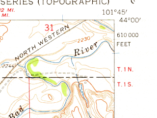 Reduced fragment of topographic map en--usgs--024k--010308--(1961)--N044-00-00_W101-52-30--N043-52-30_W101-45-00