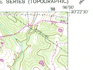 Reduced fragment of topographic map en--usgs--024k--010377--(1958)--N030-22-30_W096-07-30--N030-15-00_W096-00-00