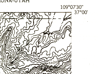Reduced fragment of topographic map en--usgs--024k--010411--(1953)--N037-00-00_W109-15-00--N036-52-30_W109-07-30