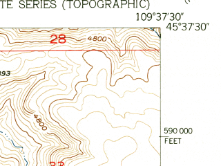 Reduced fragment of topographic map en--usgs--024k--010426--(1955)--N045-37-30_W109-45-00--N045-30-00_W109-37-30