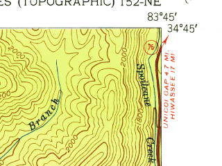 Reduced fragment of topographic map en--usgs--024k--010471--(1952)--N034-45-00_W083-52-30--N034-37-30_W083-45-00