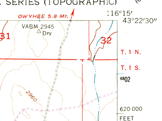 Reduced fragment of topographic map en--usgs--024k--010493--(1955)--N043-22-30_W116-22-30--N043-15-00_W116-15-00