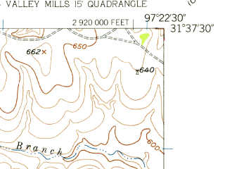 Reduced fragment of topographic map en--usgs--024k--010618--(1957)--N031-37-30_W097-30-00--N031-30-00_W097-22-30; towns and cities Crawford