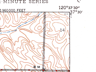 Reduced fragment of topographic map en--usgs--024k--010694--(1948)--N037-30-00_W120-45-00--N037-22-30_W120-37-30; towns and cities Livingston