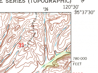 Reduced fragment of topographic map en--usgs--024k--010705--(1948)--N035-37-30_W120-37-30--N035-30-00_W120-30-00; towns and cities Creston