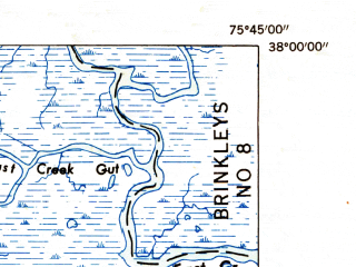 Reduced fragment of topographic map en--usgs--024k--010745--(1953)--N038-00-00_W075-52-30--N037-52-30_W075-45-00; towns and cities Crisfield, Lawsonia