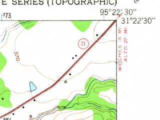 Reduced fragment of topographic map en--usgs--024k--010757--(1950)--N031-22-30_W095-30-00--N031-15-00_W095-22-30; towns and cities Crockett