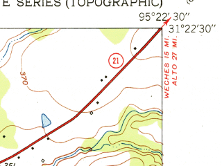 Reduced fragment of topographic map en--usgs--024k--010757--(1951)--N031-22-30_W095-30-00--N031-15-00_W095-22-30; towns and cities Crockett