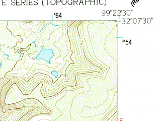 Reduced fragment of topographic map en--usgs--024k--010781--(1960)--N032-07-30_W099-30-00--N032-00-00_W099-22-30