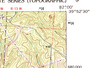 Reduced fragment of topographic map en--usgs--024k--010798--(1961)--N039-52-30_W082-07-30--N039-45-00_W082-00-00; towns and cities Crooksville, Roseville