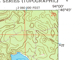 Reduced fragment of topographic map en--usgs--024k--010820--(1960)--N046-45-00_W094-07-30--N046-37-30_W094-00-00; towns and cities Cross Lake, Crosslake