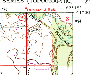 Reduced fragment of topographic map en--usgs--024k--010891--(1962)--N041-30-00_W087-22-30--N041-22-30_W087-15-00; towns and cities Merrillville, Crown Point