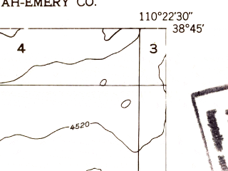Reduced fragment of topographic map en--usgs--024k--010900--(1953)--N038-45-00_W110-30-00--N038-37-30_W110-22-30