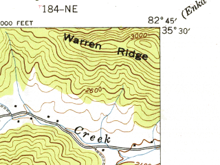Reduced fragment of topographic map en--usgs--024k--010911--(1942)--N035-30-00_W082-52-30--N035-22-30_W082-45-00