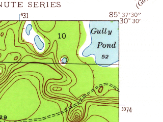 Reduced fragment of topographic map en--usgs--024k--010934--(1944)--N030-30-00_W085-45-00--N030-22-30_W085-37-30