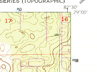 Reduced fragment of topographic map en--usgs--024k--010943--(1954)--N029-00-00_W082-37-30--N028-52-30_W082-30-00; towns and cities Crystal River