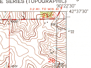 Reduced fragment of topographic map en--usgs--024k--010959--(1952)--N042-37-30_W090-30-00--N042-30-00_W090-22-30; towns and cities Benton, Cuba City, Hazel Green