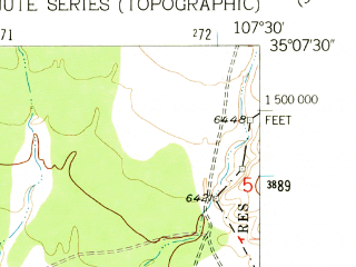 Reduced fragment of topographic map en--usgs--024k--010960--(1957)--N035-07-30_W107-37-30--N035-00-00_W107-30-00; towns and cities Seama, Skyline-ganipa, Acomita Lake