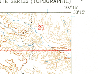 Reduced fragment of topographic map en--usgs--024k--010965--(1961)--N033-15-00_W107-22-30--N033-07-30_W107-15-00