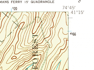 Reduced fragment of topographic map en--usgs--024k--011003--(1954)--N041-15-00_W074-52-30--N041-07-30_W074-45-00