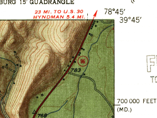 Reduced fragment of topographic map en--usgs--024k--011006--(1951)--N039-45-00_W078-52-30--N039-37-30_W078-45-00; towns and cities Cumberland, La Vale, Ridgeley, Wellersburg