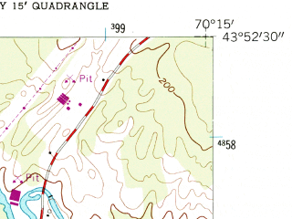 Reduced fragment of topographic map en--usgs--024k--011009--(1957)--N043-52-30_W070-22-30--N043-45-00_W070-15-00 in area of Highland Lake; towns and cities Cumberland Center