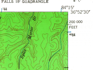 Reduced fragment of topographic map en--usgs--024k--011012--(1952)--N036-52-30_W084-22-30--N036-45-00_W084-15-00