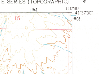 Reduced fragment of topographic map en--usgs--024k--011014--(1962)--N041-37-30_W110-37-30--N041-30-00_W110-30-00