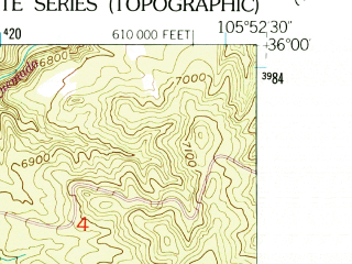 Reduced fragment of topographic map en--usgs--024k--011032--(1953)--N036-00-00_W106-00-00--N035-52-30_W105-52-30; towns and cities Nambe