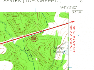 Reduced fragment of topographic map en--usgs--024k--011037--(1961)--N033-00-00_W094-30-00--N032-52-30_W094-22-30