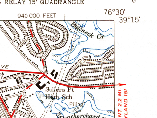 Reduced fragment of topographic map en--usgs--024k--011074--(1949)--N039-15-00_W076-37-30--N039-07-30_W076-30-00; towns and cities Glen Burnie, Riviera Beach, Brooklyn Park, Green Haven