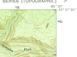Reduced fragment of topographic map en--usgs--024k--011084--(1960)--N035-37-30_W085-37-30--N035-30-00_W085-30-00