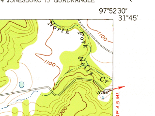 Reduced fragment of topographic map en--usgs--024k--011123--(1956)--N031-45-00_W098-00-00--N031-37-30_W097-52-30