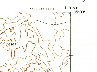Reduced fragment of topographic map en--usgs--024k--011131--(1942)--N035-00-00_W119-37-30--N034-52-30_W119-30-00