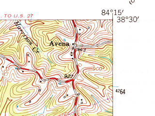 Reduced fragment of topographic map en--usgs--024k--011146--(1961)--N038-30-00_W084-22-30--N038-22-30_W084-15-00; towns and cities Cynthiana