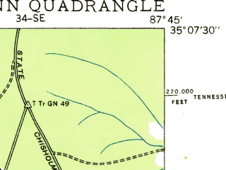 Reduced fragment of topographic map en--usgs--024k--011154--(1936)--N035-07-30_W087-52-30--N035-00-00_W087-45-00