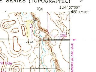 Reduced fragment of topographic map en--usgs--024k--011185--(1946)--N048-37-30_W104-15-00--N048-30-00_W104-07-30