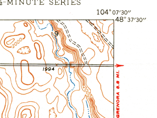 Reduced fragment of topographic map en--usgs--024k--011185--(1948)--N048-37-30_W104-15-00--N048-30-00_W104-07-30