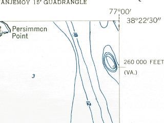 Reduced fragment of topographic map en--usgs--024k--011189--(1955)--N038-22-30_W077-07-30--N038-15-00_W077-00-00