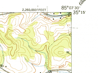 Reduced fragment of topographic map en--usgs--024k--011200--(1943)--N035-15-00_W085-15-00--N035-07-30_W085-07-30; towns and cities Middle Valley, Lakesite