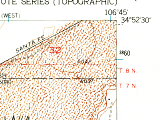 Reduced fragment of topographic map en--usgs--024k--011228--(1952)--N034-52-30_W106-52-30--N034-45-00_W106-45-00