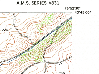 Reduced fragment of topographic map en--usgs--024k--011241--(1947)--N040-45-00_W077-00-00--N040-37-30_W076-52-30